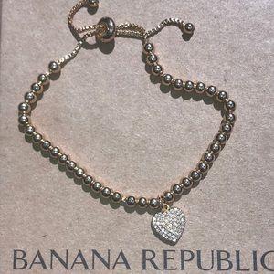 ✨ Banana Republic Pave Heart Slider Bracelet NWT